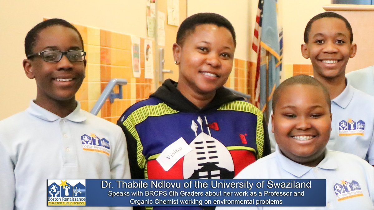 @BRCPS 6th graders learn about what it's like to be a Chemistry Professor and Organic Chemist working to help protect the environment from Dr. Thabile Ndlovu, visiting the school all the way from the University of Swaziland.  #STEAM #EdThatAddsUp