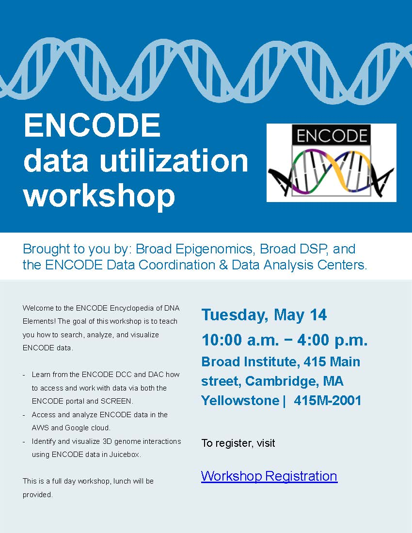 An ENCODE data utilization workshop is coming up Tues, May 14! – ENCODE