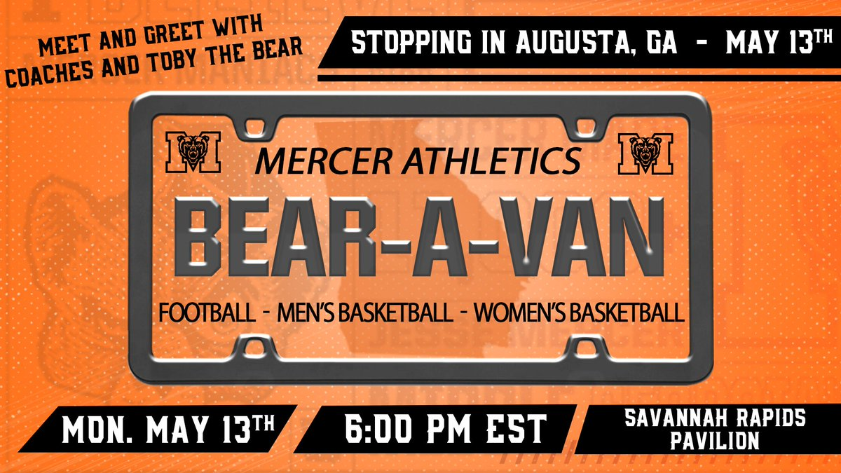Augusta, the Bears are heading your way! 🐻🚙💨  Meet @bobby_lamb, @EPEDtogether, and @CoachGregGary and enjoy some free food (T's Restaurant) and door prizes at the Savannah Rapids Pavilion on May 13th! 🐻🏈🏀  RSVP today ➡️ http://bit.ly/2019BearAVan  #RoarTogether