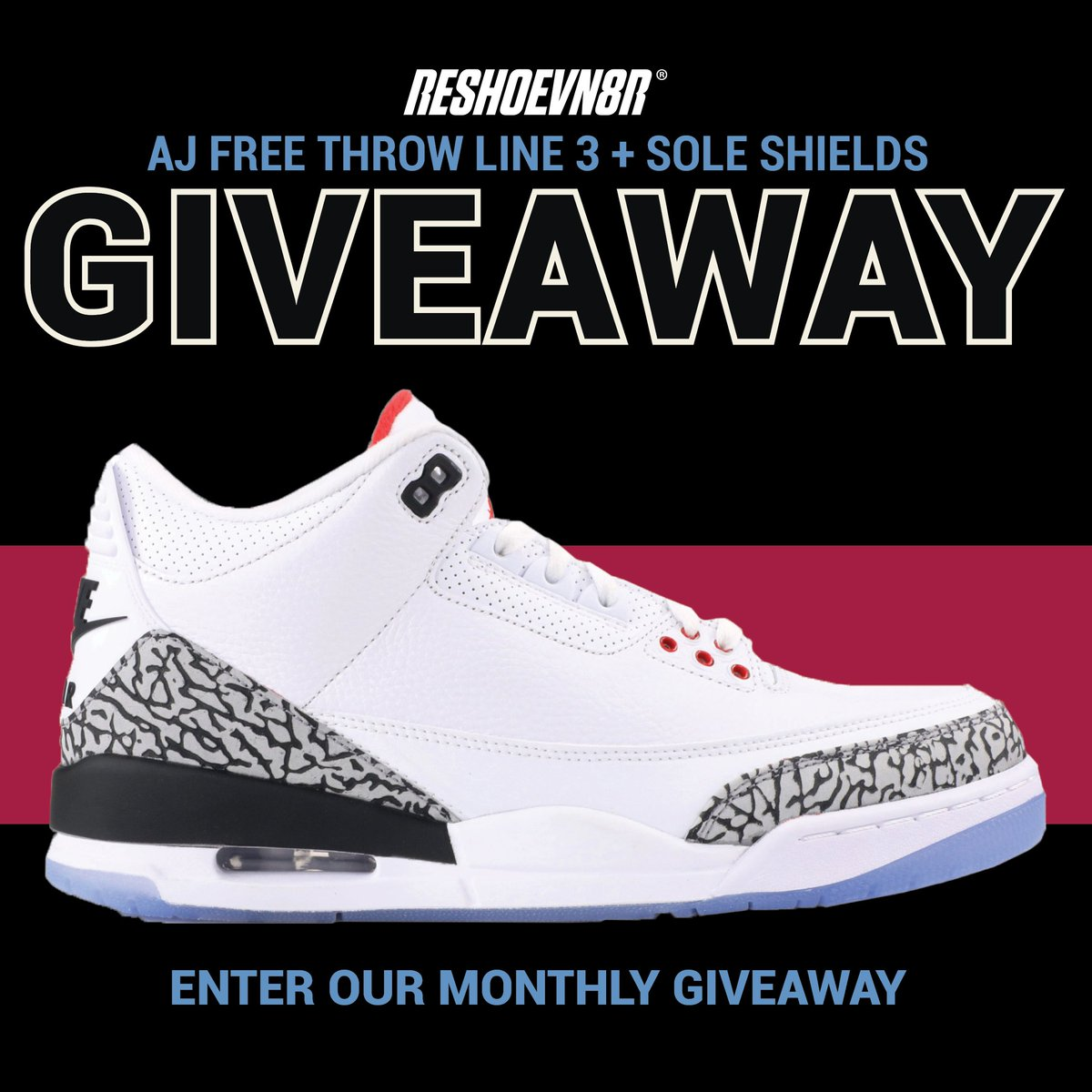New month! New giveaway! In May, we are giving away a pair of AJ Free Throw Line 3s and a Pack of Sole Shields! Retweet this tweet for an extra entry! https://reshoevn8r.com/pages/giveaway
