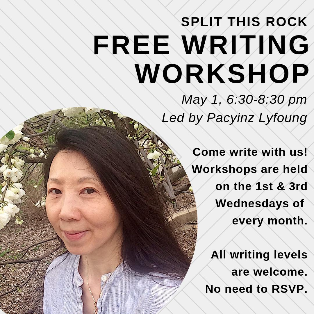 Split this rock writing workshop flyer featuring an image of pacyinz lyfoung