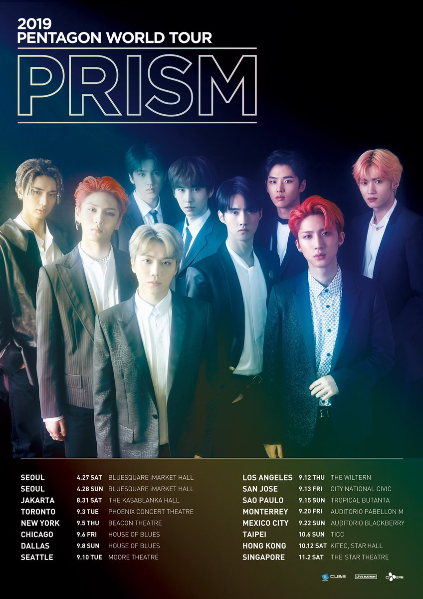 Singapore 🇸🇬 UNIVERSE~ Your boys, Pentagon @CUBE_PTG will see you on 2 November 2019 at The Star Theatre for their 2019 PENTAGON WORLD TOUR: PRISM! 🌌 Mark the date on your calendar 📝 while we wait for more details 🤩 #2019_PENTAGON_WORLD_TOUR #PENTAGONinSG