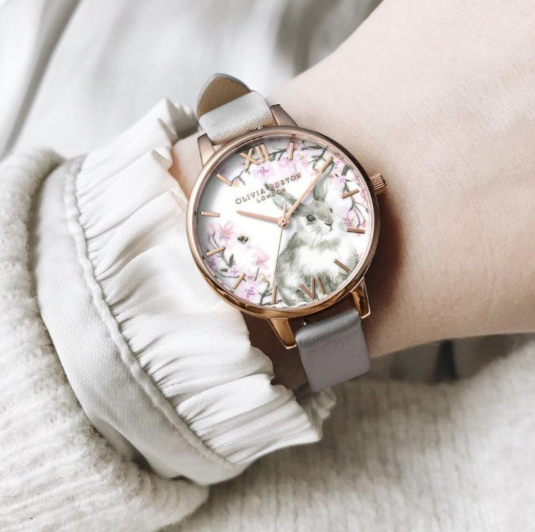 fc945729851 ... at Tic Watches . . https://www.ticwatches.co.uk/olivia-burton-watches -ob16wl72-pretty-blossom-bunny-demi-vegan-grey-rose-gold-ladies-watch-p33426  …