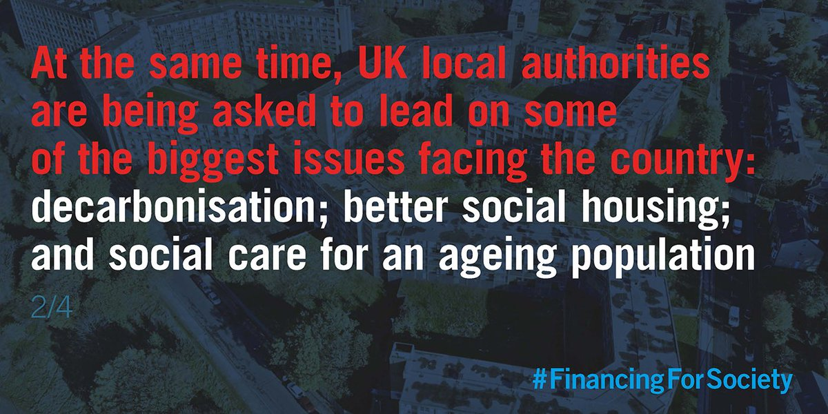 RT @BaumanInstitute 2/4 At the same time, UK local authorities are being asked to lead on some of the biggest issues facing the country: decarbonisation; better social housing; provision of health and social care for an ageing population, and so on #FinancingforSociety