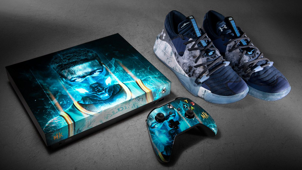 RT for a chance to win this flawless #MK11 custom console by @Bosslogic and Sub-Zero inspired kicks by Under Armour and Dennis Smith Jr. #XboxSweepstakes  NoPurchNec. Ends May 14. Rules: https://xbx.lv/2IPoTgV