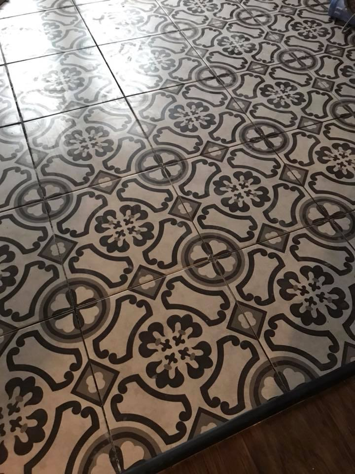 Love this Moroccan Cement style tile for your Laundry room? give @BrandedFloors a call!  #LaundryRoom #MoroccanTile #CementTile #blackandwhitetile #BestFlooringCompany #McKinneyTX
