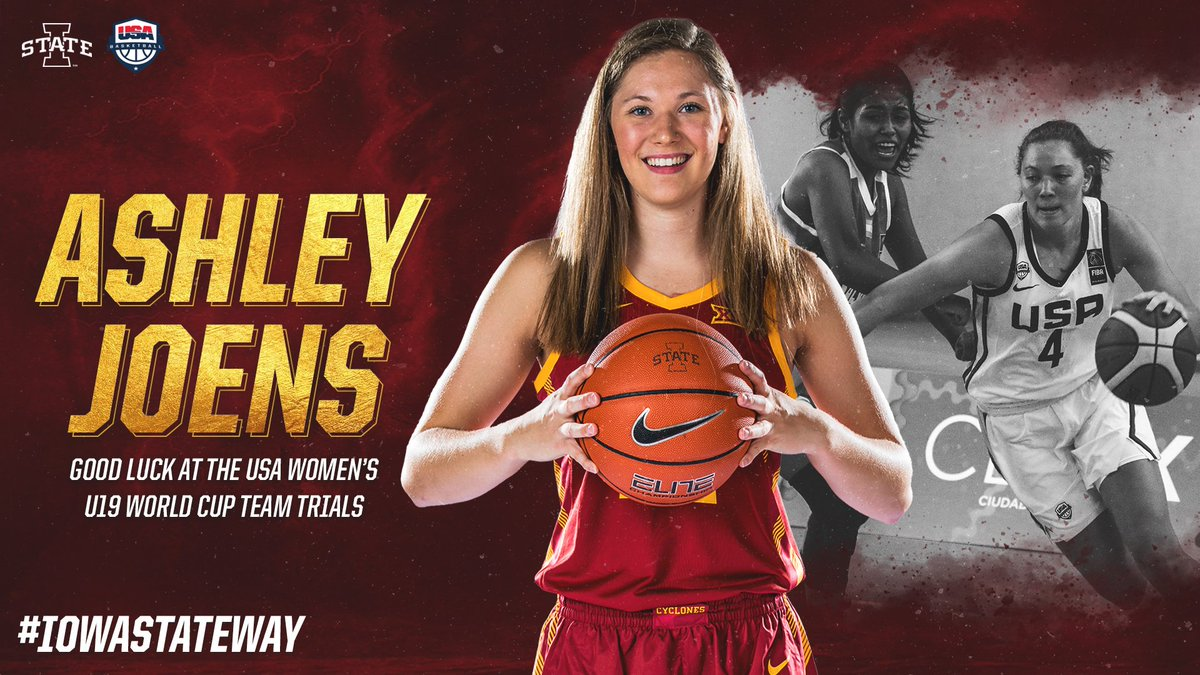 .@ashleyjoens has accepted an invite from @usabasketball to participate in USA Women's U19 World Cup Trials!  Joens captained last year's U18 team that captured a 🥇 medal in the FIBA Americas Women's Championship!   🔗https://cyclones.com/news/2019/5/1/womens-basketball-joens-invited-to-usa-basketball-u19-world-cup-trials.aspx…