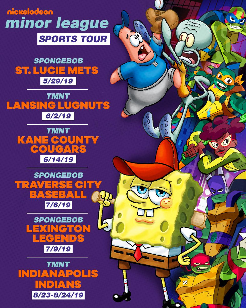 Spongebob and the ninja turtles are heading across america for some special minor league baseball games