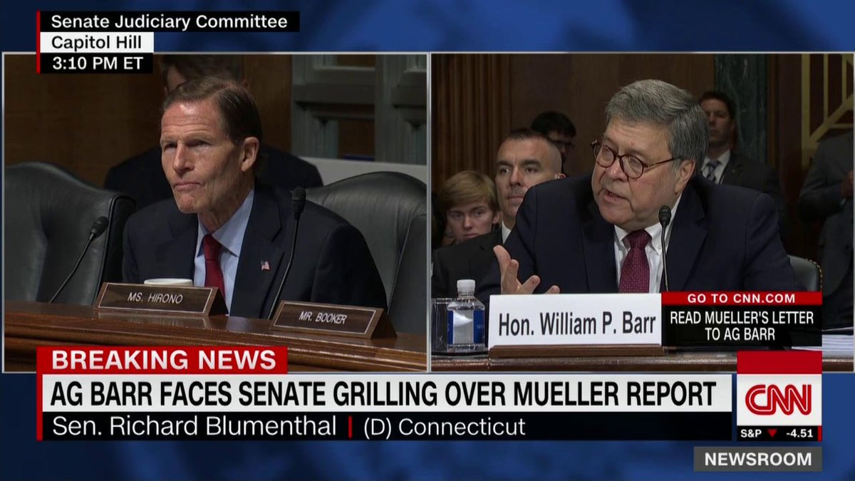 "Asked by Sen. Richard Blumenthal if Congress could review notes taken of the call between Attorney General William Barr and Robert Mueller, Barr says ""no.""  ""Why not?"" asks Blumenthal.  ""Why should you have them?"" Barr replies.  https://cnn.it/2ITWNRC"