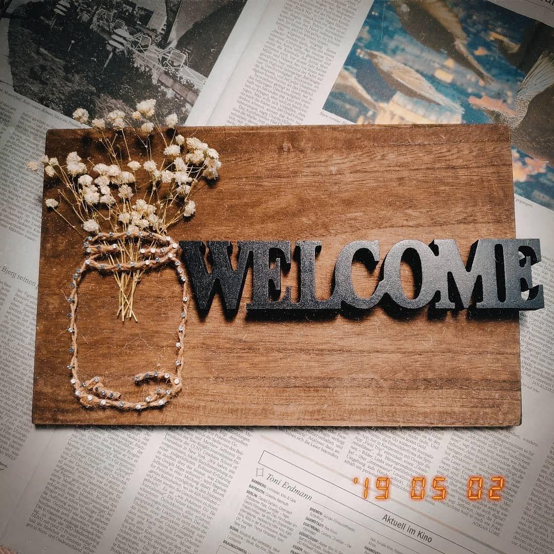test ツイッターメディア - すべてキャンドゥで こしらえました  #ストリングアート #キャンドゥ まな板 麻紐 水性ニス(ウォールナット) 釘 ドライフラワー Welcome木製オブジェ  かわいすぎた♡ @cando_official https://t.co/zw7S8u5xPH