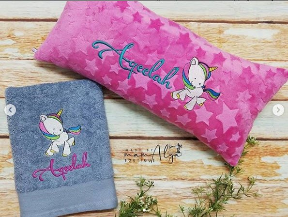 Mamalya Boutique made this adorable towel and pillow using an embroidery design from our Magical Unicorns set (https://www.bunnycup.com/embroidery-design-magical-unicorns …). #unicorns #magicalunicorns #bunnycup #bunnycupembroidery #embroidery #embroiderydesigns #machineembroidery