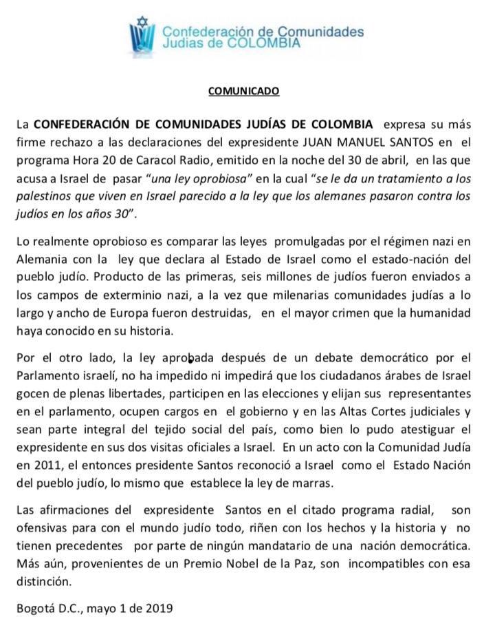 Esto le responde la comunidad judía en Colombia al expresidente @JuanManSantos :
