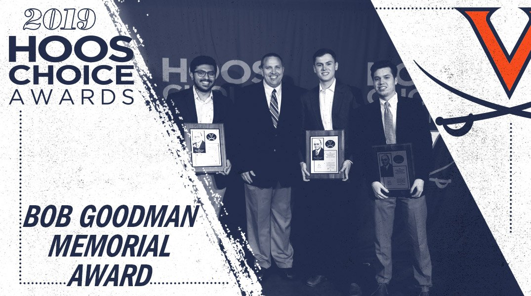 These guys do it all! Congrats on winning the Bob Goodman Memorial Award - Ben Buell, Justin Maxey and Faris Wasim @uvambbmanagers 🔶⚔️🔷 #GoHoos