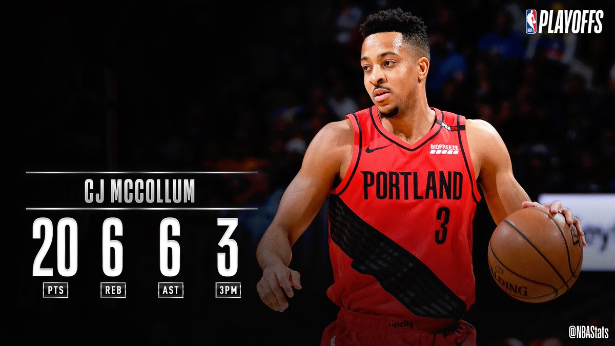 CJ McCollum's 20 PTS, 6 REB, 6 AST helps the @trailblazers earn the road W in Game 2! #SAPStatLineOfTheNight