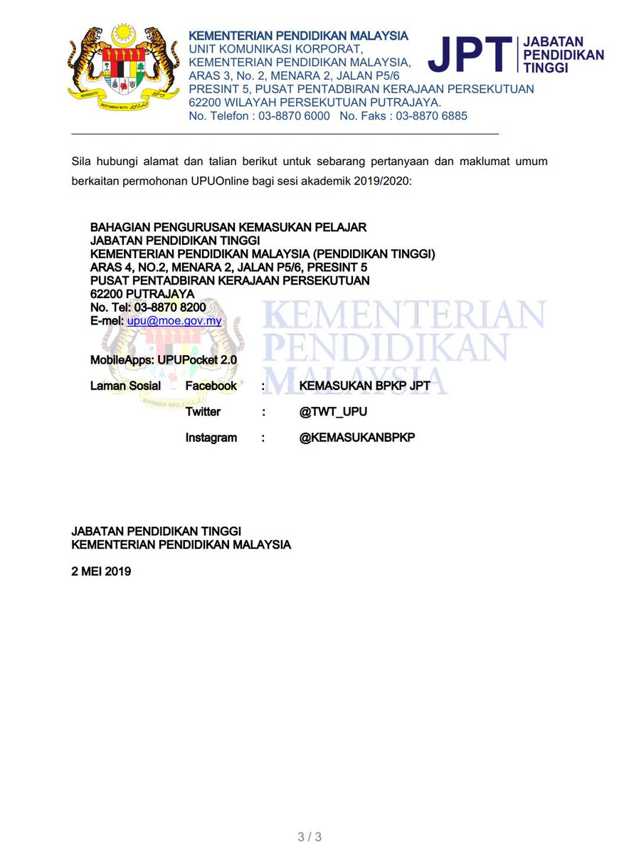 Kpm On Twitter Kenyataan Media Rasmi Kementerian Pendidikan Malaysia Kpm Berkaitan Hebahan Keputusan Permohonan Upu Online Bagi Kemasukan Ke Universiti Awam Ua Politeknik Kolej Komuniti Dan Ilka Program Pengajian Lepasan Spm Sesi