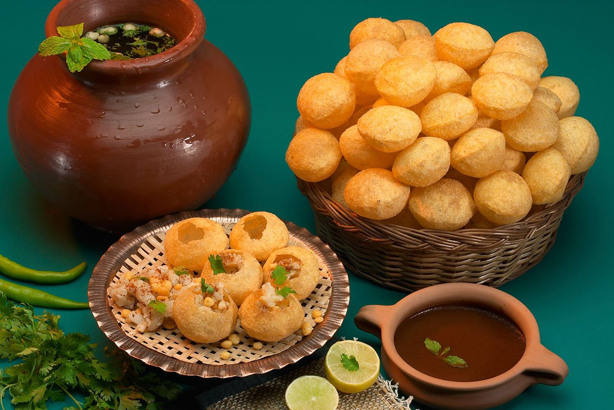 """Sita India on Twitter: """"Feel the blast of flavors as this spicy water  filled crisp dough balls invade your taste buds.The Pani-puri is a common  street snack in many cities of #India."""