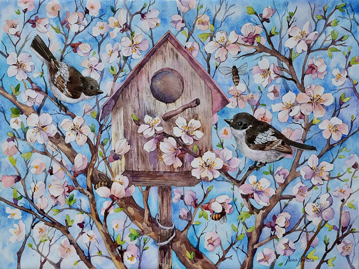 Картинки детские весна птички