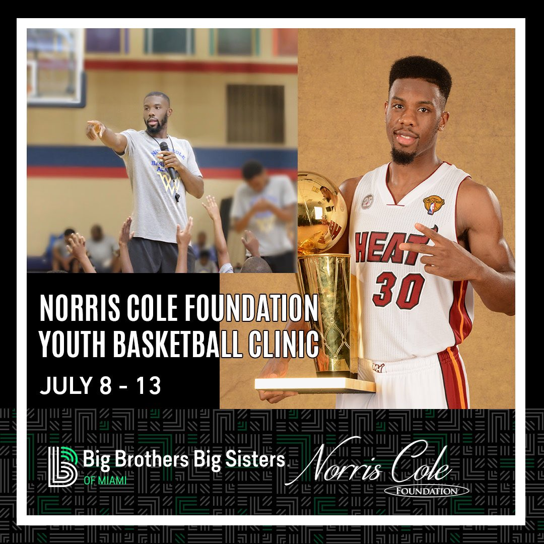 This summer, we're excited to collaborate with 2 Time NBA Champion Norris Cole (@pg30_Cole) and his #NorrisColeFoundation on a week-long basketball clinic for youth in Miami!   Register here: http://bit.ly/NorrisColeClinic …