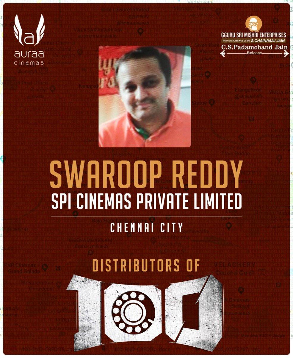 "Happy to announce our distributor for ""100"" movie on May 9th @auraacinemas @Atharvaamurali @samanton21 @SamCSmusic @ihansika @iYogiBabu @AntonyLRuben @krishnanvasant @dhilipaction #100themovie"