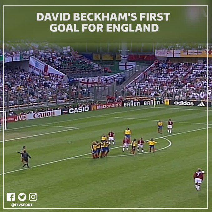 Happy Birthday David Beckham!  Here\s a flashback to THAT free-kick for against Colombia back in 1998