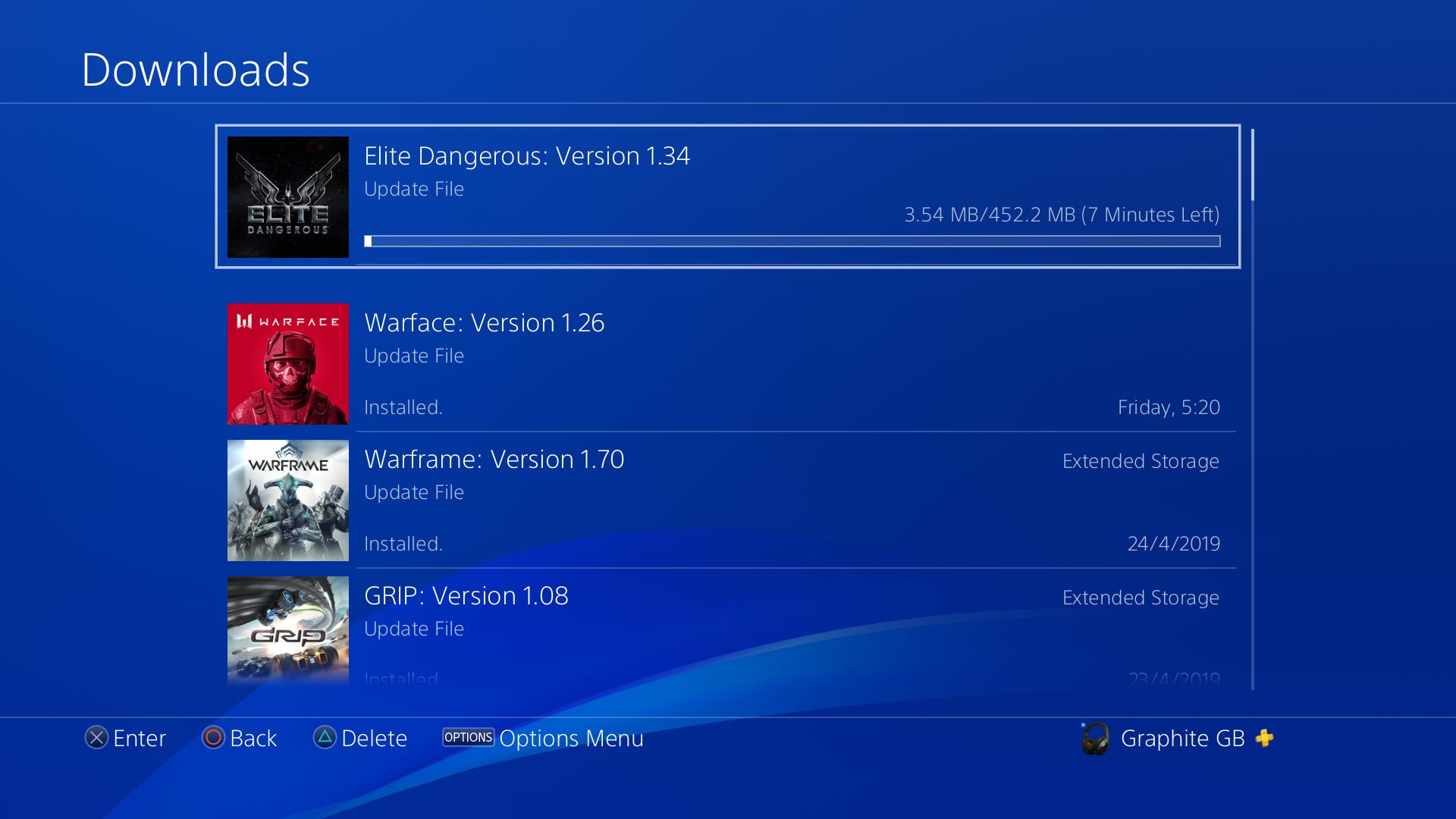 PS4 patch version 1 34 is ~452MB download   | Frontier Forums