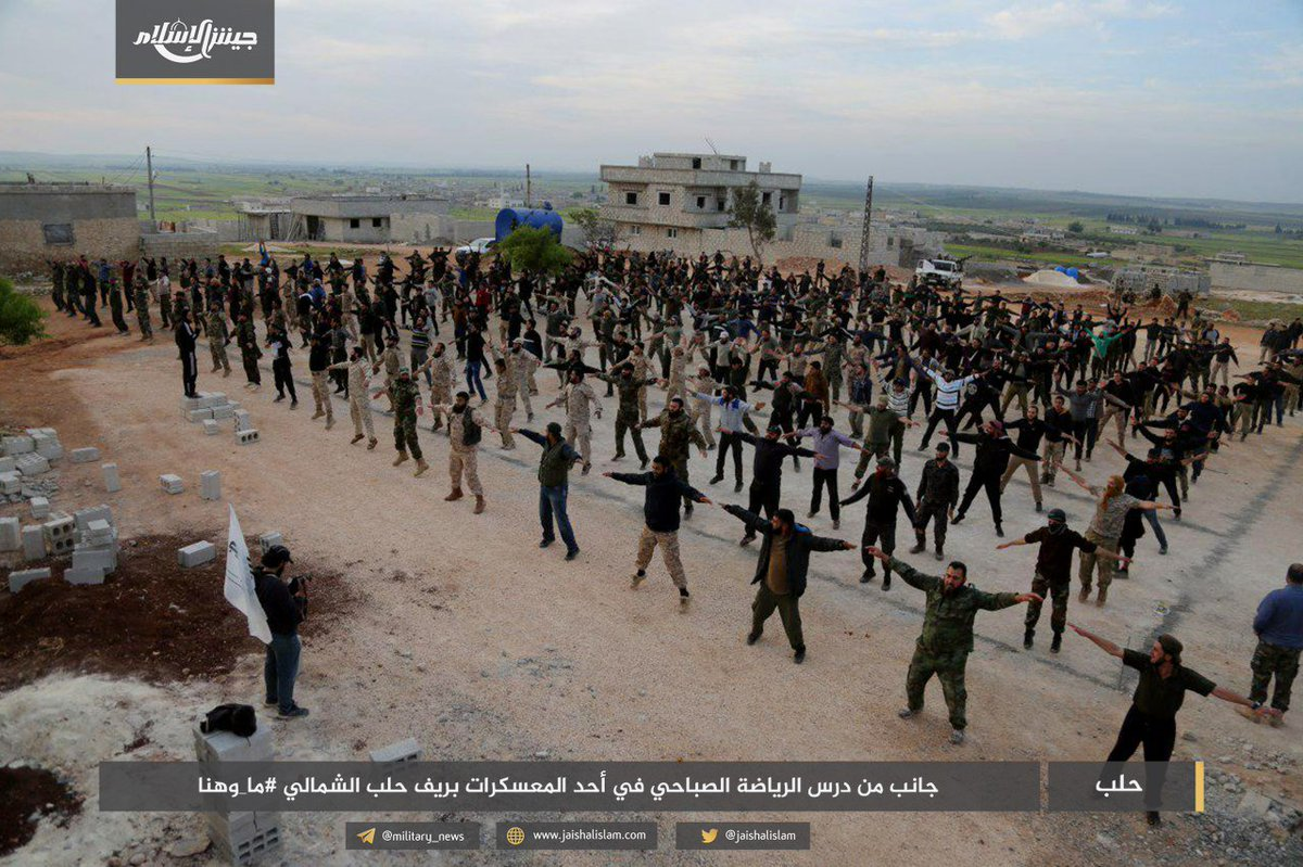 eb783d431 So that's what Jaysh al-Islam has been doing since relocating to Aleppo  countryside... Arranging aerobic classespic.twitter.com/LBLp9MEZ3u