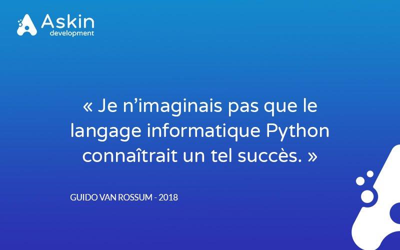 """[Le saviez-vous ?] #Python 🐍 #Development 🛠 """"Je n'imaginais pas que le langage informatique Python connaîtrait un tel succès.""""  👉 https://t.co/fmaRaWWb3v https://t.co/bj6HQ2x4yQ"""