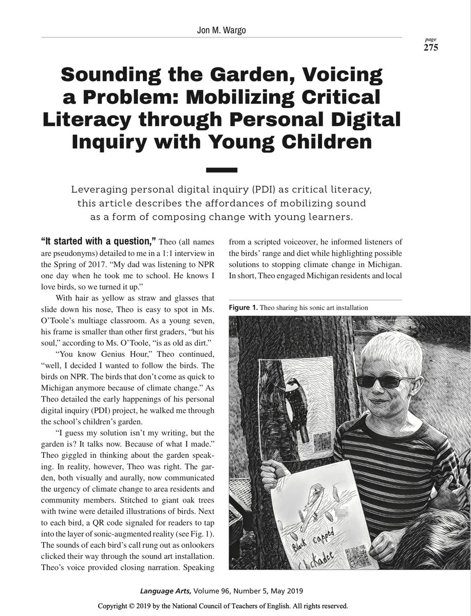 """Beyond thrilled to share my article, """"Sounding the Garden, Voicing a Problem..."""" Interested in sonic composition, digital inquiry, and/or environmental justice? Then this is the piece for you! Open access to all! #literacies http://www.ncte.org/journals/la/issues/v96-5…"""