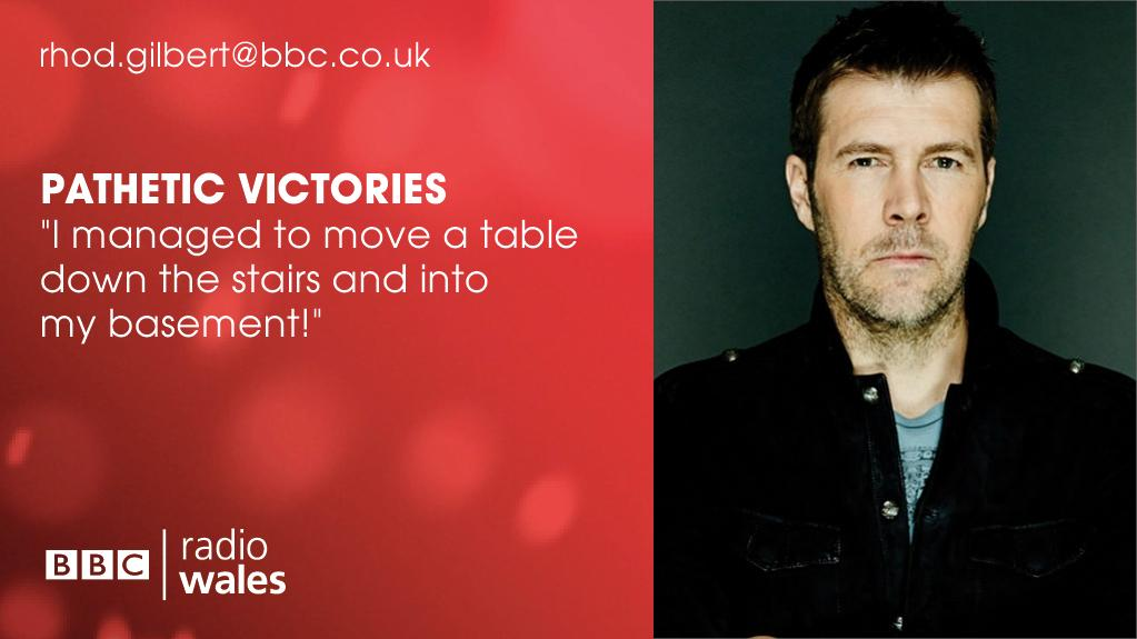 Rhod's live from @machcomedyfest this Saturday from 11.30am on @BBCRadioWales   Rhod wants to hear your Pathetic Victories...  What have you been proud of - but has in fact been a 'bit rubbish'?  Rhod's example in the pic!  E: rhod.gilbert@bbc.co.uk https://t.co/5ULOOz3nNQ