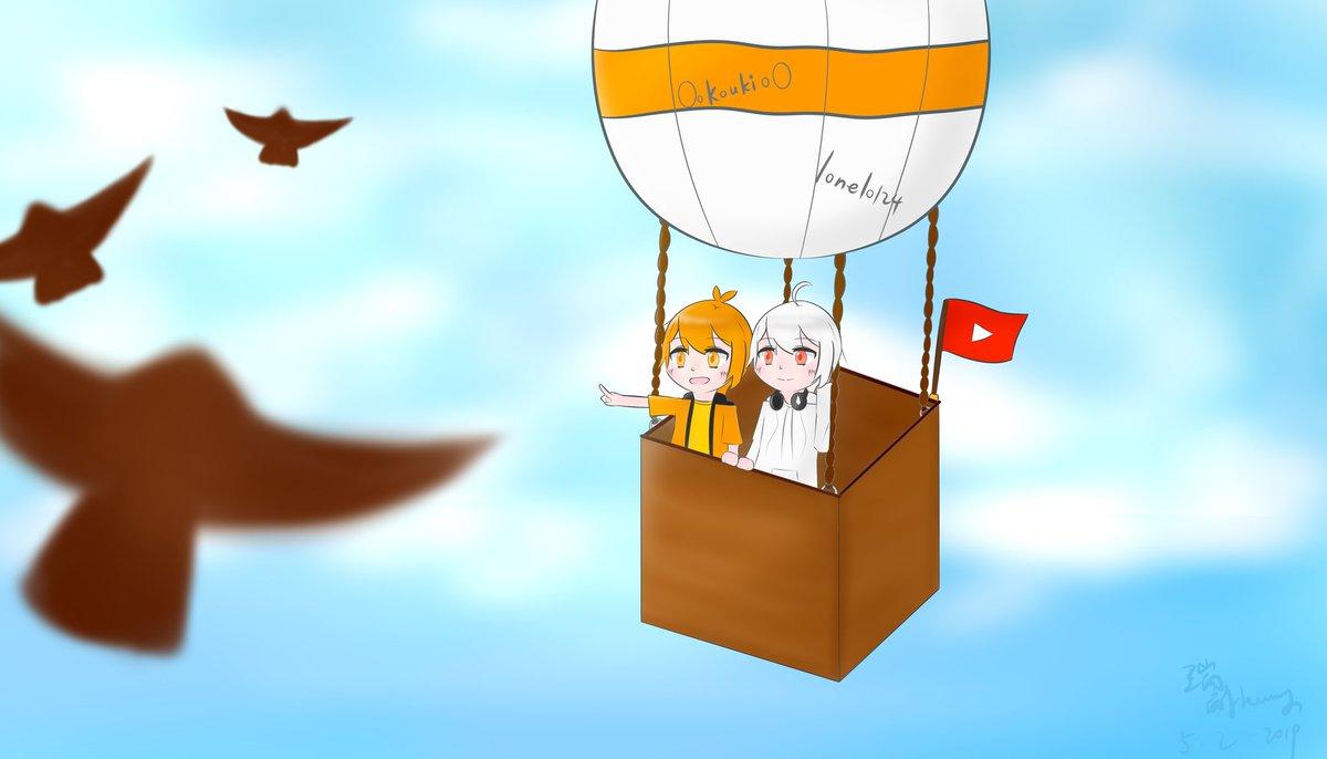 """""""乘上热气球去旅行吧☆"""" 那三只鸟真的超草率的hhh(发一遍说一遍ni #阿神 #阿神kouki #羽毛 #不会跌倒的羽毛"""