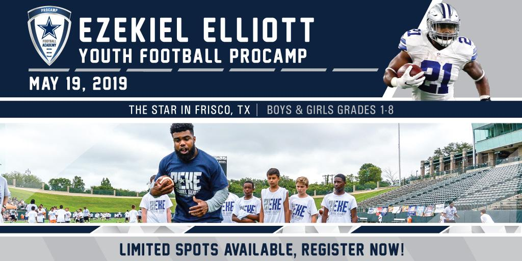a5e35212752 ... instruction from professional coaches and #DallasCowboys running back,  @EzekielElliott! This camp is for athletes of all skill levels in grades  1-8.