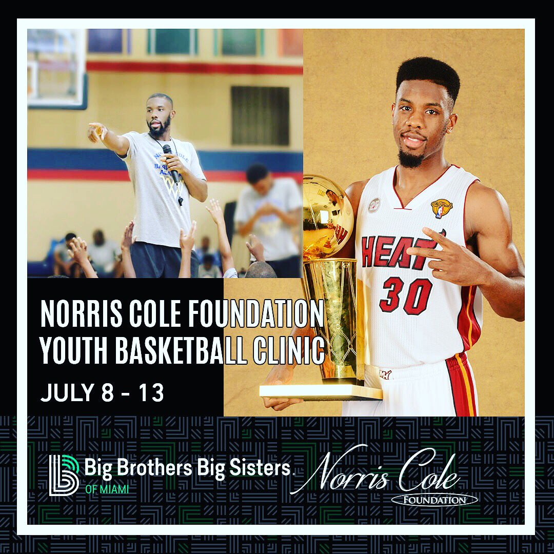 I'm excited to be teaming up with @BBBSMiami on a week-long basketball clinic for youth this summer in Miami! Register: http://bit.ly/NorrisColeClinic …