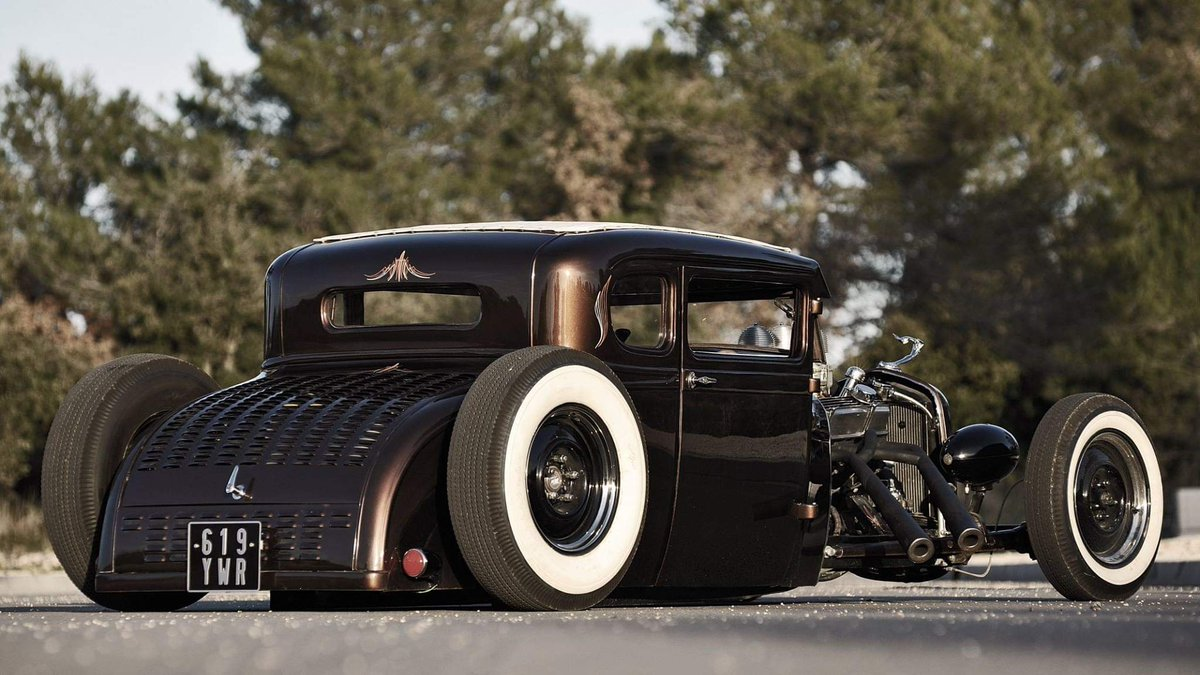 #Car Awesome of the Day: #Steampunk-ish ⚙️ Black #HotRod 🔧 with open pipes via @Tech_Guy_Brian #SamaCars 🚗