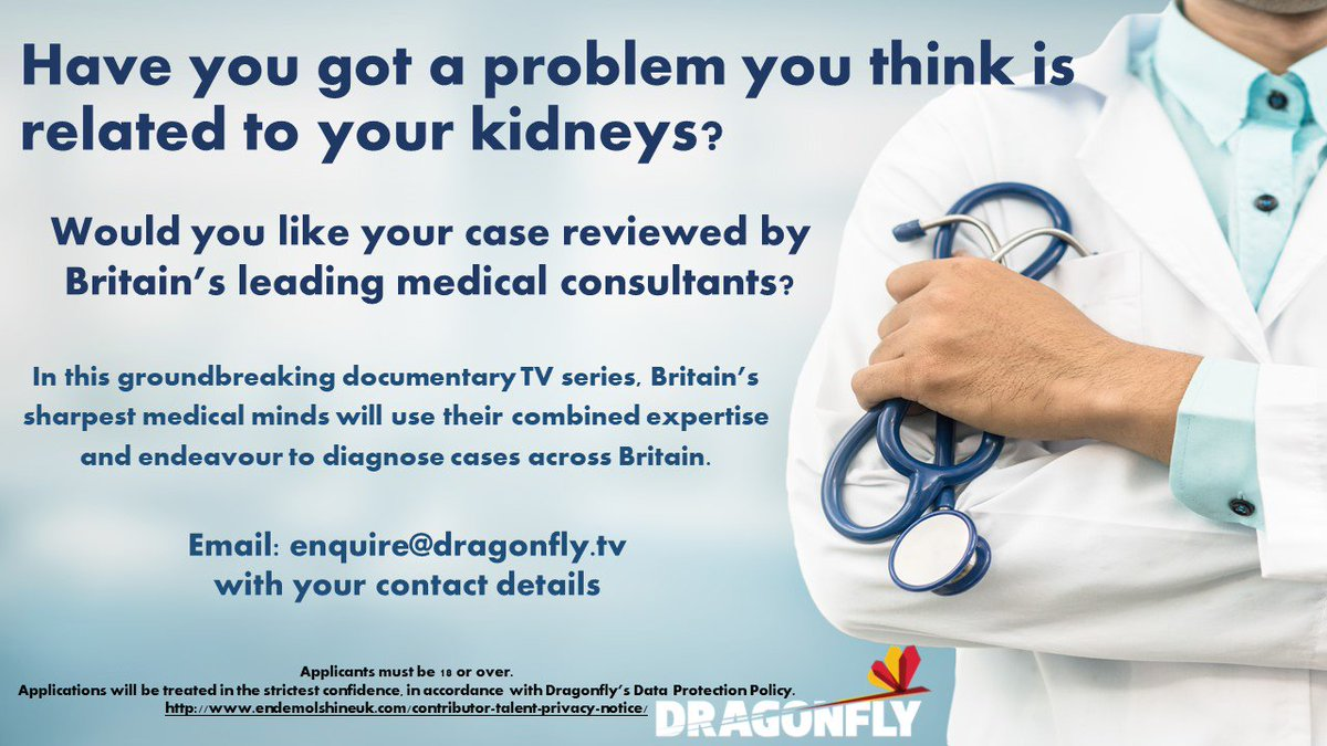 The NKF have shared the following image with SEKPA. Basically if you have a undiagnosed kidney issue and would like to be on TV to contact Dragonfly directly. SEKPA are not endorsing this in any way, just sharing to those who might be interested. <br>http://pic.twitter.com/qaARdAVYcE