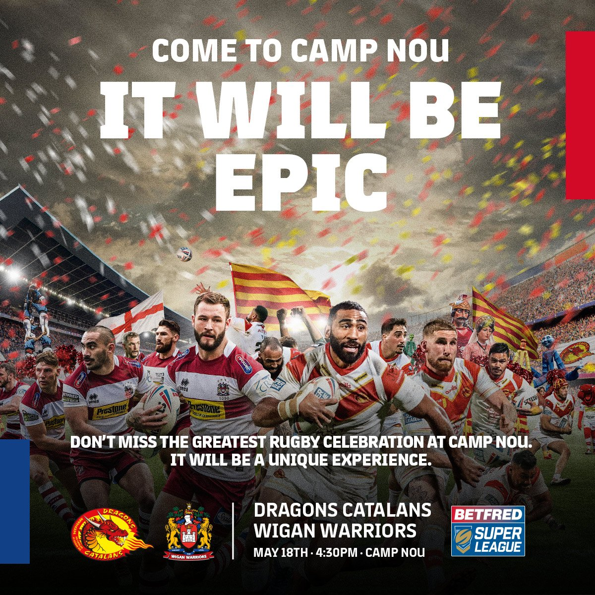 🙌 This May, experience something unique in the Camp Nou! We're waiting for you! 📍 Camp Nou  📅 18/05 4.30pm 🏉 @DragonsOfficiel v @WiganWarriorsRL 🎟 http://ow.ly/ozuO50tjoPN