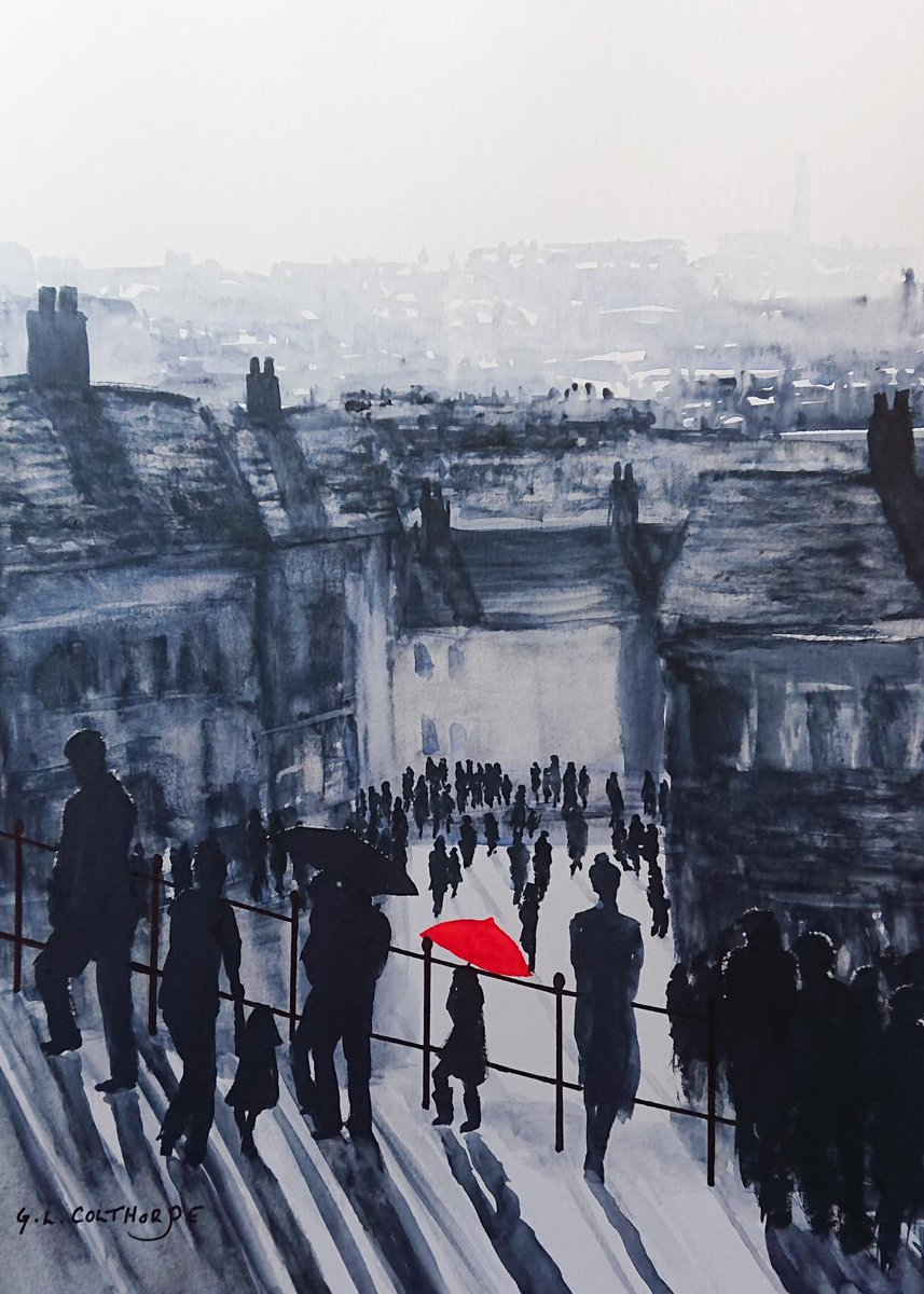 #GrahamColthorpe Sunshine and Showers 199 Steps Whitby Watercolour 10x 14 inches #ArteSinLímites https://t.co/5y7rZLNMx9