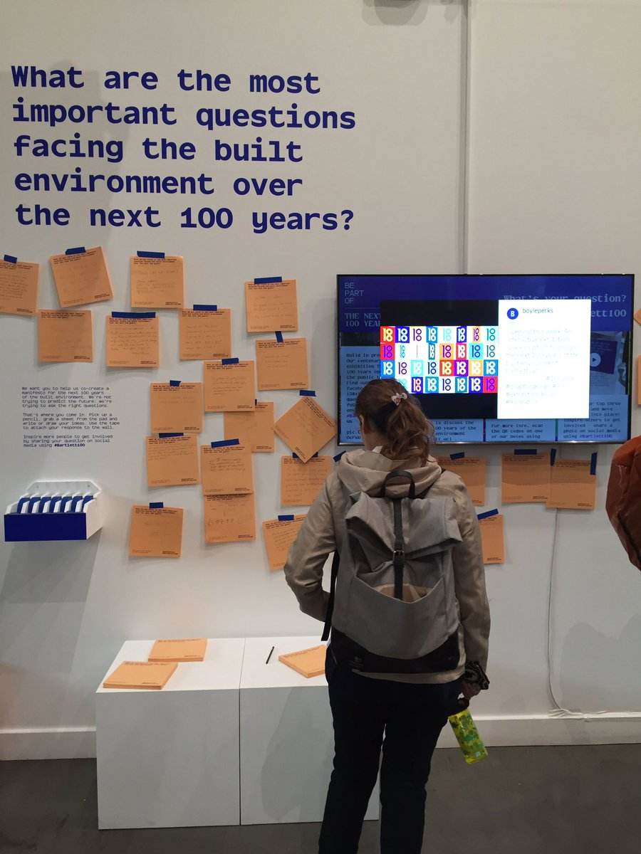 The Next 100 Years exhibition is open! Help us #buildabetterfuture and tell us what are the most important questions facing the built environment over the next 100 years. On until the 18 May @BartlettUCL, 22 Gordon Street, UCL #Bartlett100