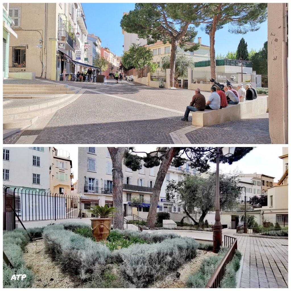 Sur la #PlaceDuSuquet, on papote à côté de la fontaine de 1897, on peut lire...Il y a le #SuquetDesArtistes au pied d'un trompe l'œil hommage à #JacquesTati ... et un peu plus haut #NotreDameDespérance du XIIème siècle et le #MuseeDeLaCastre et sa tour vue à 360 sur @villecannes
