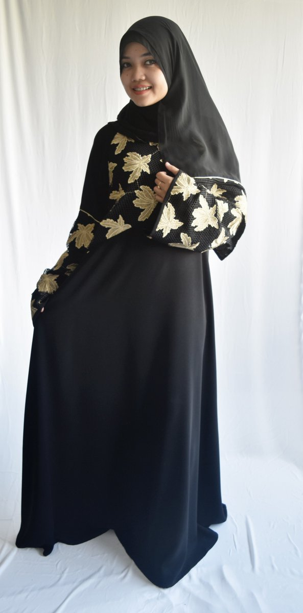 c4ac7be59 Model # 16202K Metallic golden embroidery combined with golden robe on Jet  Black fabric, with cool Shal. #fashion #abaya #muslimahdress  #muslimahfashion ...