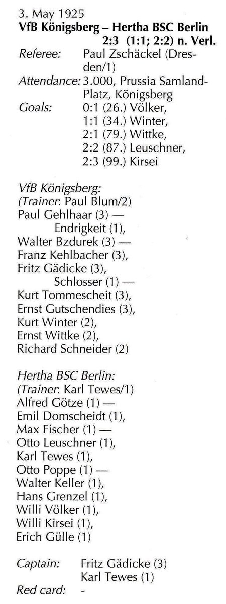 Hertha Bsc Museum 1892 على تويتر Heute Vor 94 Jahren 03 05 1925 Vfb Konigsberg Herthabsc 2 3 2 2 1 1 N V Im Achtelfinale Der 18 Deutsche Fussball Meisterschaft 1924 1925 3 000 Zuschauer Prussia Samland Platz Volker 1 0 26