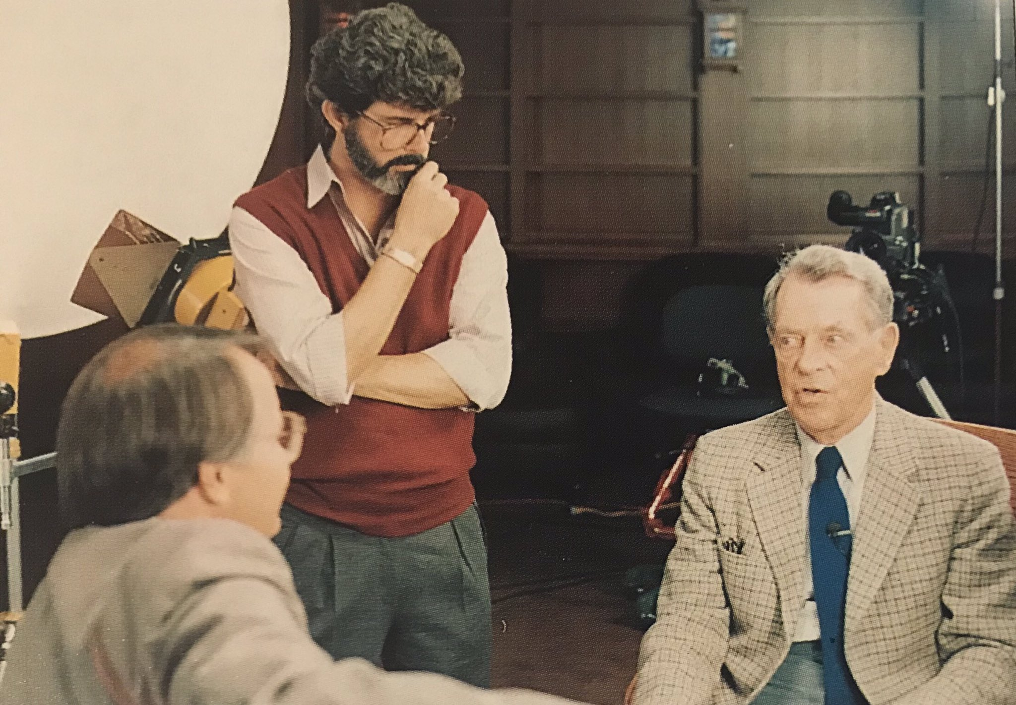 """wizard stories on Twitter: """"1985 - Joseph Campbell, George Lucas and Bill Moyers at Skywalker Ranch filming Campbell's interview series """"The Power of Myth""""… https://t.co/UV3fAVLigx"""""""