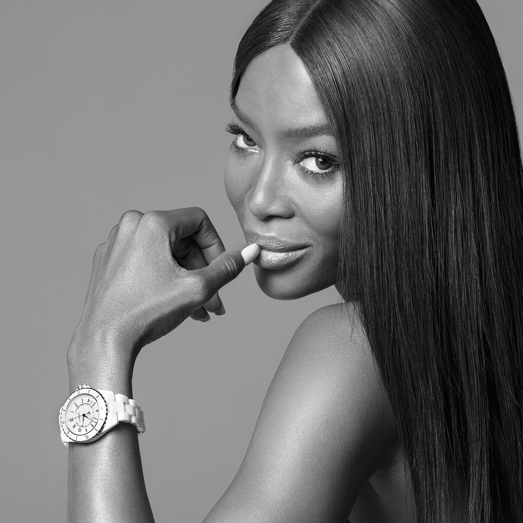 THE NEW J12. IT'S ALL ABOUT SECONDS. Stop for one second to discover the new J12. A legend in watchmaking, the timepiece has been reinvented while preserving its identity. A new way to see time. Discover the watch on http://chanel.com/-j12naomicampbell…  #TheNewJ12  #ItsAllAboutSeconds