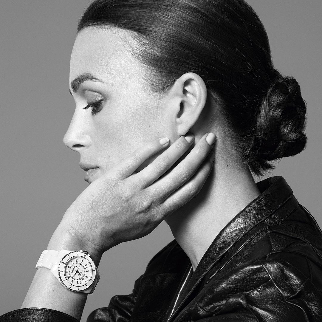 THE NEW J12. IT'S ALL ABOUT SECONDS. Stop for one second to discover the new J12. A legend in watchmaking, the timepiece has been reinvented while preserving its identity. A new way to see time. Discover the watch on http://chanel.com/-j12keiraknightley … #TheNewJ12 #ItsAllAboutSeconds