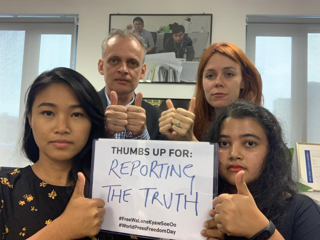 #WorldPressFreedomDay at the Myanmar @Reuters bureau - our thoughts are with our colleagues @walone4 and Kyaw Soe Oo, who have been jailed for more than 500 days for doing their jobs and reporting the truth. We want them home now. #FreeWaLoneKyawSoeOo