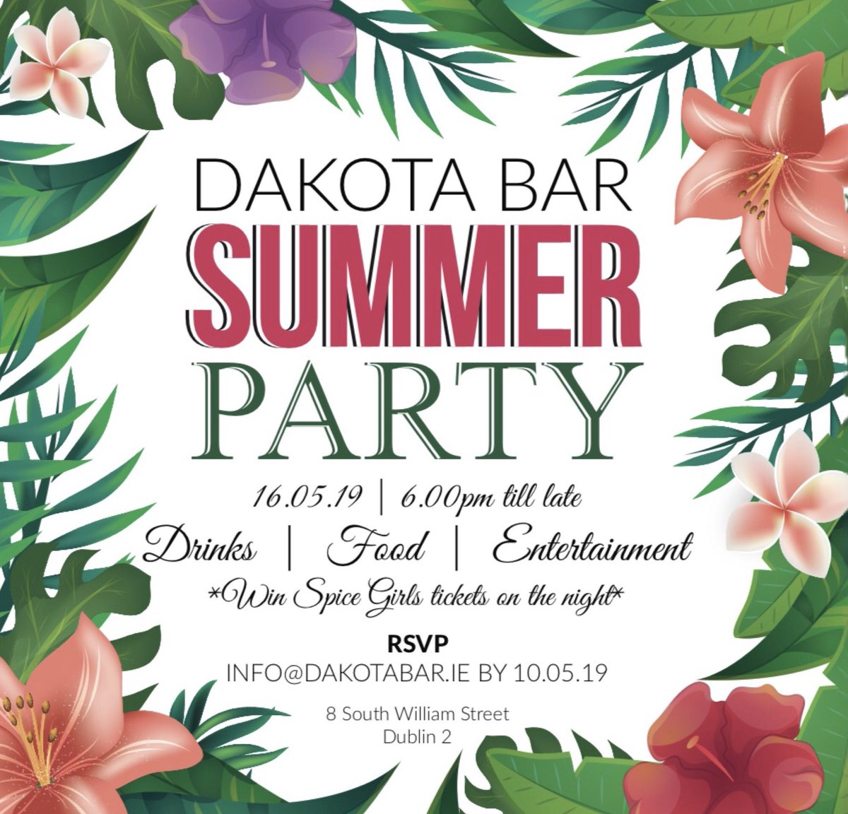 As you may aware - Dakota Bar has been closed for the last few months for some exciting refurb work! We are very excited to reopen this month and are throwing one serious party to celebrate!  We have a limited number of guest list places available - get in touch to avail! 🙌🏻 https://t.co/BTxS6KXO9g