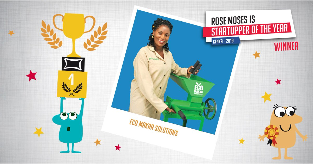 We celebrate the Grand winner of the 2019 #TotalStartupper of the year Challenge & Top Female Entrepreneur : Rose Moses of @ekomakaa solutions 💡 Converts biomass into eco-friendly charcoal briquettes & fabricates briquette  making machines. Learn more  >http://tot.al/CWrgIH