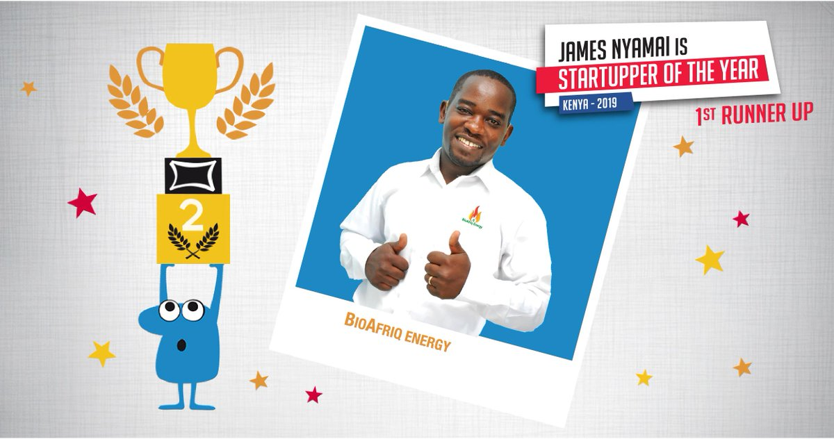 We celebrate the First runner up of the 2019 #TotalStartupper of the Year Challenge: James Nyamai of @BIOAFRIQENERGY  💡 Manufactures affordable biomass pellets used as fuel & fabricates dryers and  & smokeless institutional cook stoves. Learn more >>  http://tot.al/CWrgIH