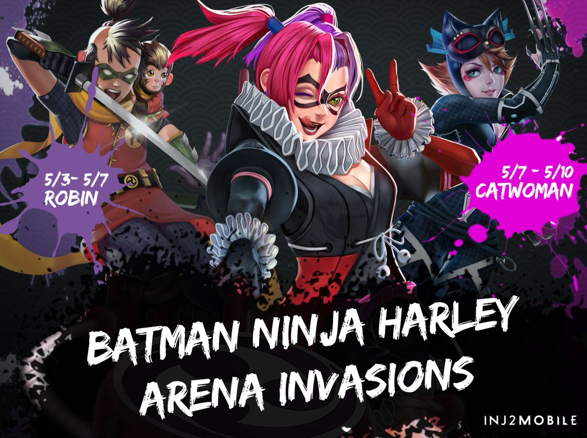 Injustice 2 Mobile On Twitter Get Ready For 2 Back To Back Batmanninja Harleyquinn Invasions Starting Tonight With Batman Ninja Robin S Arena Once Harley Quinn Is On Your Roster All Batman Ninja Heroes Gain