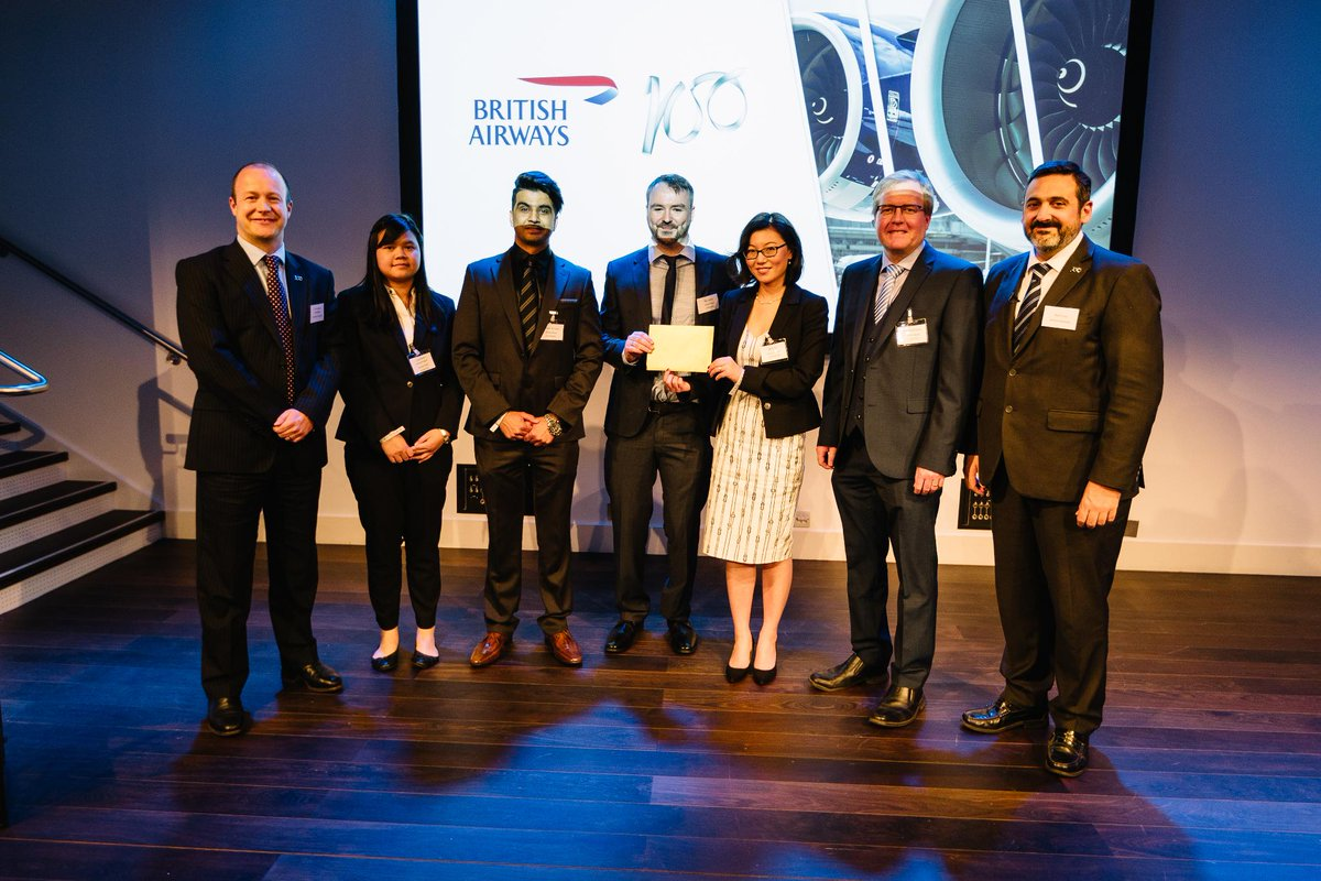 In third place, receiving £5,000 prize money, is the team from Heriot-Watt University whose ideas centred on waste to jet fuel with co-electrolysis #BA100