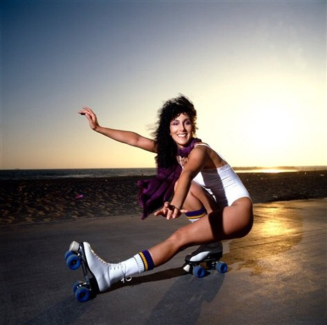 Happy birthday Here s Cher on roller skates!